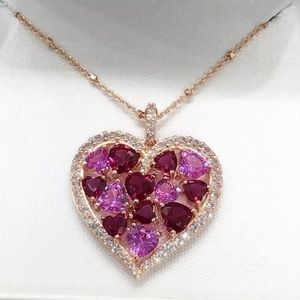 Jewelry - Rose Gold Over Pink Sapphire Cluster Heart Pendant
